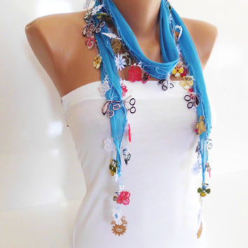 Cotton scarf with handmade Turkish crochet oya necklace bandana