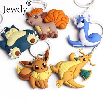 3D Anime Key Ring Pikachu Keychain Pocket Monsters Key Holder Pendant Mini Charmander Squirtle Eevee Vulpix Figures
