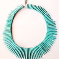 Turquoise Spike Necklace by theblackfeather on Etsy