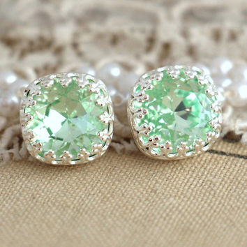 Silver Mint Studs, Mint green sea foam Crystal stud vintage earring - Silver plated  Real Silver post earrings real swarovski rhinestones .