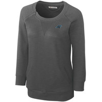 Cutter & Buck Carolina Panthers Women's Offside Overknit Three-Quarter Sleeve Sweatshirt - Gray