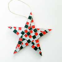Red and Green Christmas Ornament, Star Mosaic