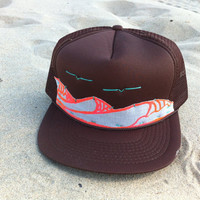 Handstitched Hat / Surf Waves - Screenprint Artwork on Fabric / Adult