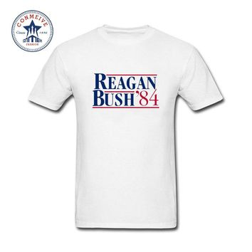 Hipster Basic Tops Funny Reagan George Bush 84 Campaign Cotton T Shirt for men