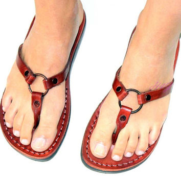 "Summer Style ""RING""  Flip-Flop   Handmade New Greek  Leather Sandals  Size's : US 5-12   EU 35-46"