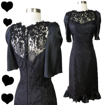 Vintage 80s Dress // Black Lace Ruffle Dress S 20s Flapper Jazz Age Great Gatsby Cocktail Floral 80s Prom Dance Party