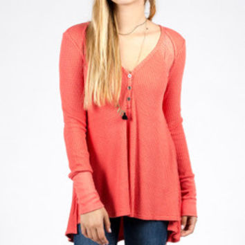 Coral Waffle Knit Top with Lace Detail