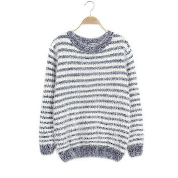Winter Stripes Sea Pullover Knit Sweater [9176523140]