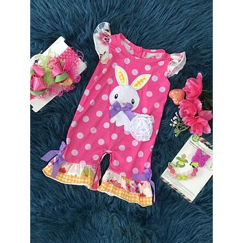 2019 Hippity Hoppity Hot Pink Bunny Easter Romper