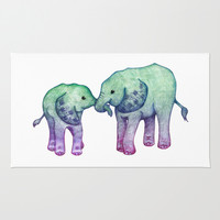 Baby Elephant Love - ombre mint & purple Area & Throw Rug by Perrin Le Feuvre