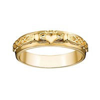 14k Gold Over Silver Claddagh Wedding Band (Yellow)