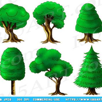 Tree Clipart, Tree Clip Art, Green, Forest Clipart, Hand Drawn, Tree Illustrations, Tree Graphics, Nature Clipart, Fantasy, Woods, PNG JPEG