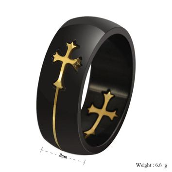 Black & Gold Stainless Steel Cross Mens Wedding Band