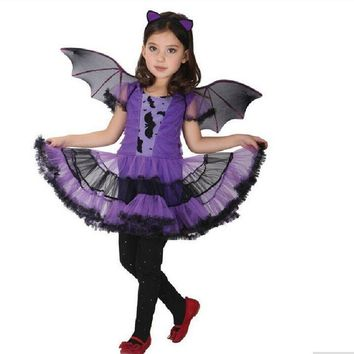 CaGiPlay Masquerade Party BatGirl Costume Children Cosplay Dance Dress Costumes for Kids Purple Halloween Clothing Lovely Dress