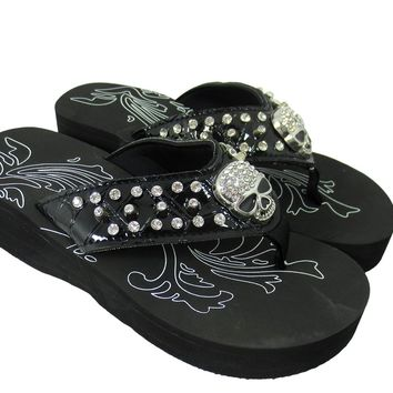 Western Gothic Punk Rock Skull and Metal Bling Studded Flip Flops