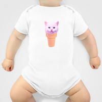 Custom One Piece Baby Body Suit Funky Catsterz Kitty Ice Cream Cone