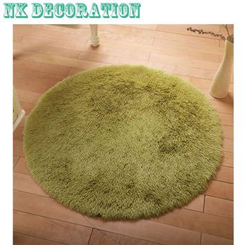 40/80/100cm Fluffy Round Foam Rug Non Slip Shower Bedroom Carpet Yoga Fitness Mat for Adults and Children 8 Colors Available
