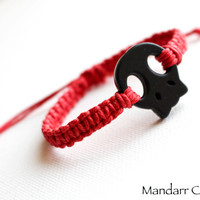 Skull Bracelet, Red Hemp Cord, Black Sugar Skull, Handmade Adjustable Macrame Jewelry, Halloween