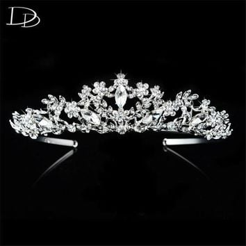 DCCKU62 vintage wedding hair accessories bridal tiara for women Austrian crystal queen crown noiva 585 gold color diadem jewelry HF025