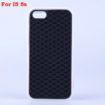 Vans Off The Wall Shoes Sole Soft Rubber Silicone Black With White Cover Case For iPhone 5/5s