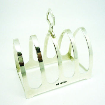 Solid Silver Toast Rack, Sterling, Letter, 5 Bar, English, Emile Viner, Hallmarked Sheffield 1932, REF:242N