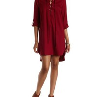Wine High-Low Lace-Up Shift Dress by Charlotte Russe