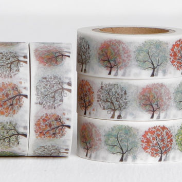 Seasonal Trees Washi Tape, Maple Oak Large Leafy Tree 15mm