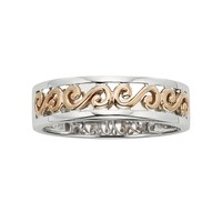 14k Gold Two Tone Scrollwork Wedding Band - Men (Rose Gold/White/White Gold)