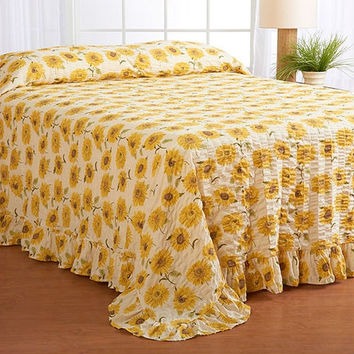 Twin Size Floral Sun Flower Seersucker Bedspread in White & Yellow