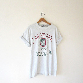 Vintage '92 LAS VEGAS Nevada Tourist Souvenir Gambling Fruit of the Loom 50/50 Blend T-Shirt Sz XL