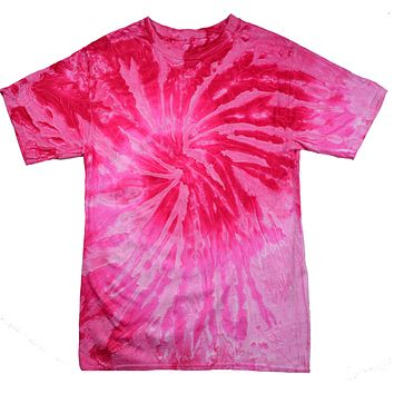 Tie Dye Shirt Multi Color Spiral Pink Light Pink T-Shirt