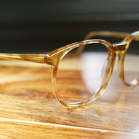 Honey Amber Tortoiseshell Large Round 1980s Vintage Eyeglasses 58/22 mens womens