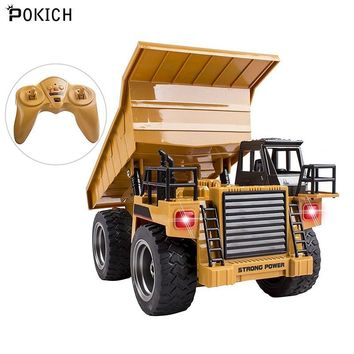 Pokich 2.4G 6CH Electric Rc Remote Control Alloy Full Functional Dump Truck Toy for Kids with Lights Metal Die-Cast Front-C