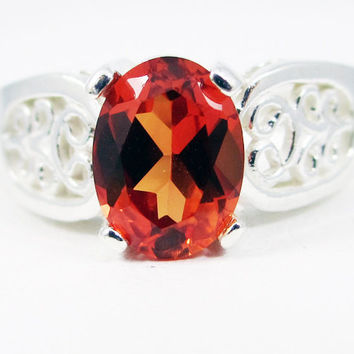 Orange Sapphire Oval Filigree Ring Sterling Silver, September Birthstone Ring, Orange Sapphire Ring