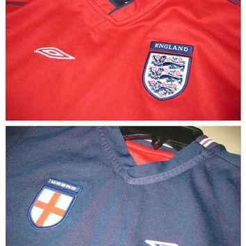 Sale!! EUC Vintage Umbro England National Team 2002/2004 Reversible Soccer Jersey Foot