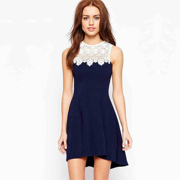 Navy Blue Lace Sleeveless Dress