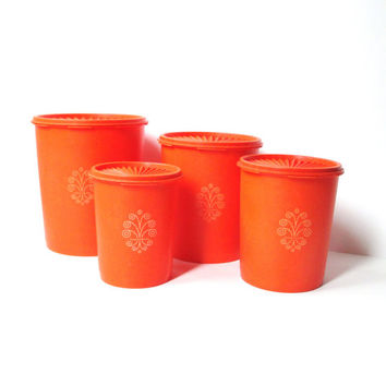 Orange Tupperware Kitchen Canister Set