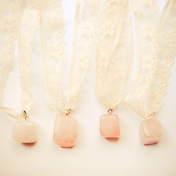 Boho Bridesmaid Gift - Rose Quartz Gemstone Pendant with Vintage Rustic Lace - Wedding Accessories, Jewelery