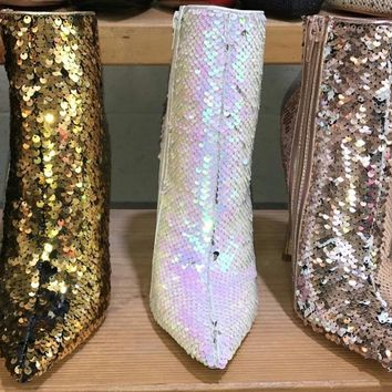 Rose gold Sequin Booties Bristol