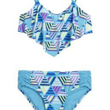Geometric Flounce Bikini Swimsuit | Girls Swimwear New Arrivals | Shop Justice