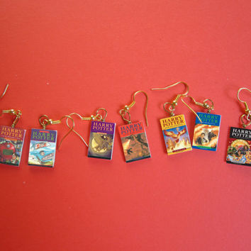 Book cover charm earrings - Harry Potter , Lord of the rings, The hunger games, The fault in our stars, quidditch through the age