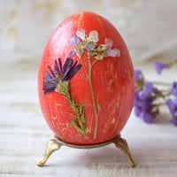 Easter decor Easter wood egg real dried flower Easter table decoration Happy Easter gift Wooden eggs decoupage egg shabby chic cottage decor