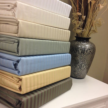 Full Wrinkle Free 650 Thread Count Egyptian Cotton Stripe Sheet Sets