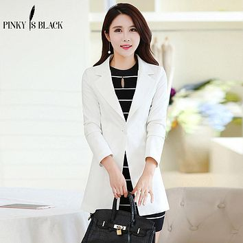 Pinky Is Black women blazers  long suit jacket female long-sleeve slim candy color elegant one button blazer jacket