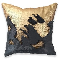 Matte Gold & Black Reversible Sequin Glam Pillow
