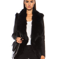 Leather Sleeved Fur Jacket in Black