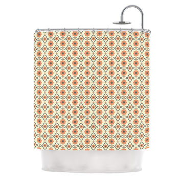 "Nandita Singh ""Floral Peach"" Orange Pattern Shower Curtain"