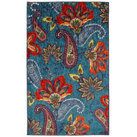 5' x 8' Floral Paisley Area Rug in Blue Teal Red Orange - Made in USA