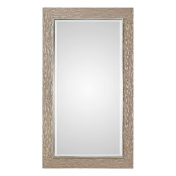 Sahel Large Scale Rectangular Textured Fabric Wrapped Framed Wall Mirror by Uttermost
