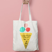 Icecream Tote Bag Canvas - Canvas Tote Bag - Printed Tote Bag - Market Bag - Cotton Tote Bag - Large Canvas Tote Funny Quote Bag